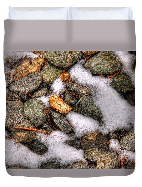 Snow Among The Rocks Duvet Cover by Andy Lawless