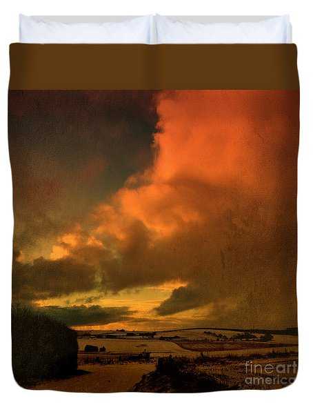 Duvet Cover featuring the photograph Snow And Fire by Liz  Alderdice