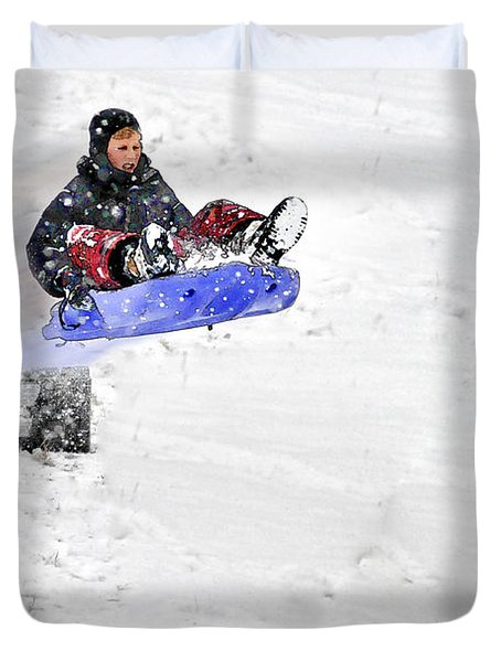 Snow And Kids Duvet Cover by Dan Friend
