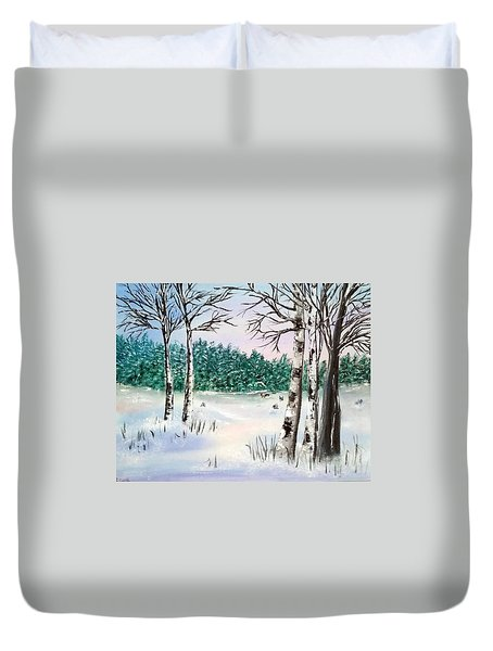 Snow And Trees Duvet Cover