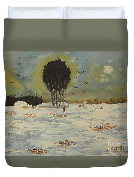 Duvet Cover featuring the painting Snow At Christmas by Pamela  Meredith