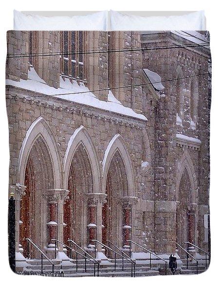 Snow At St. John's Duvet Cover