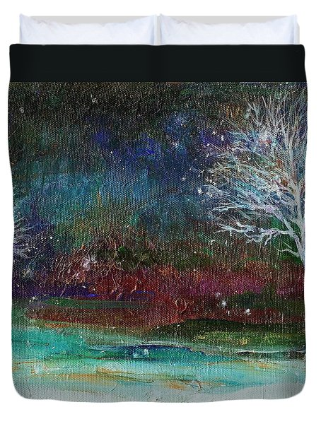 Duvet Cover featuring the painting Snow At Twilight by Mary Wolf