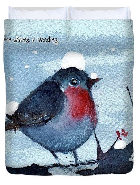 Duvet Cover featuring the painting Snow Bird From Needles by Anne Duke