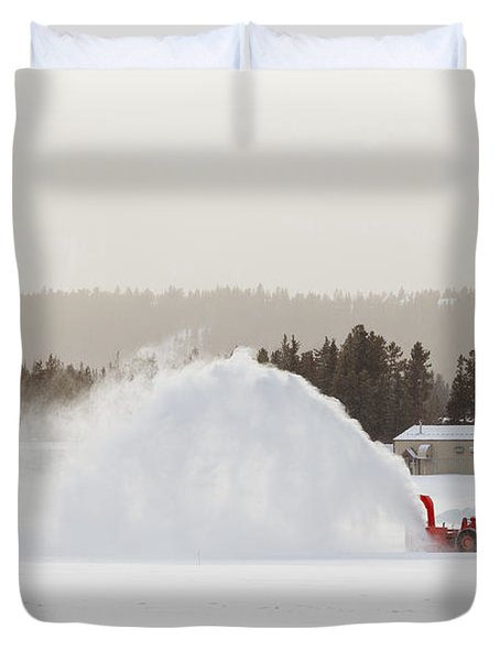 Snow Blower Clearing Road In Winter Storm Blizzard Duvet Cover by Stephan Pietzko
