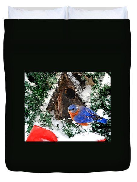 Snow Bluebird Christmas Card Duvet Cover
