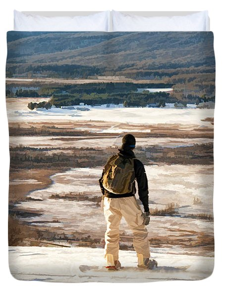 Snow Boarder Planning His Run Duvet Cover by Dan Friend