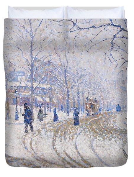 Snow  Boulevard De Clichy  Paris Duvet Cover by Paul Signac