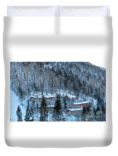 Snow Cabins Duvet Cover