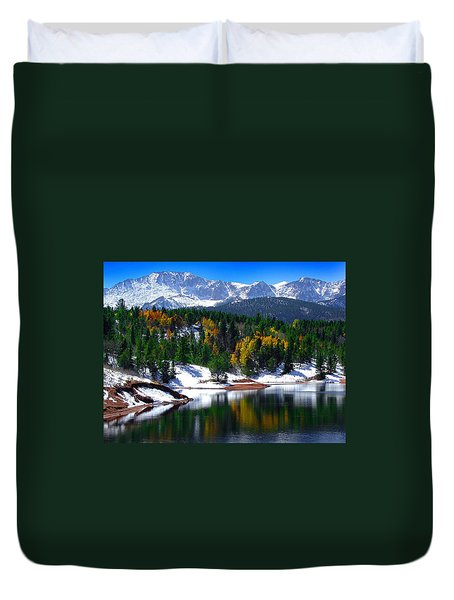 Snow Capped Pikes Peak At Crystal  Duvet Cover by John Hoffman