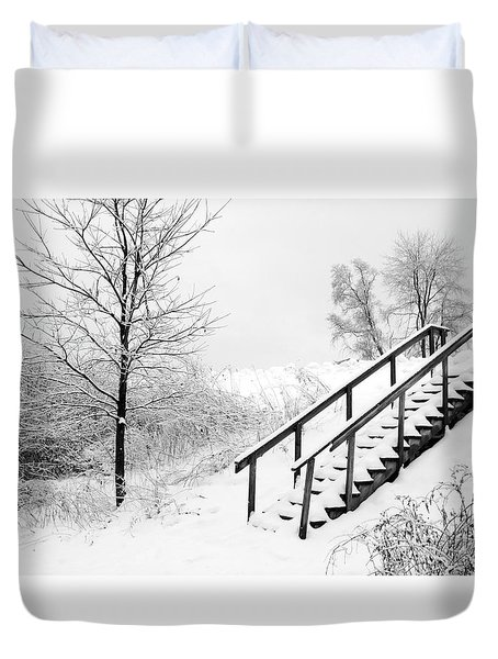 Snow Cover Stairs Duvet Cover