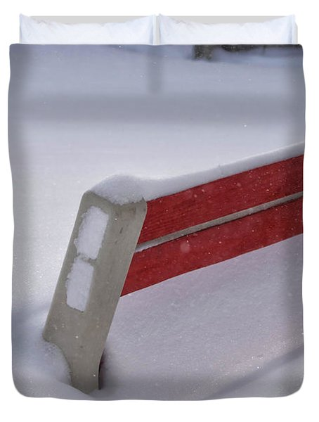 Snow Covered Bench Duvet Cover by Thomas Woolworth