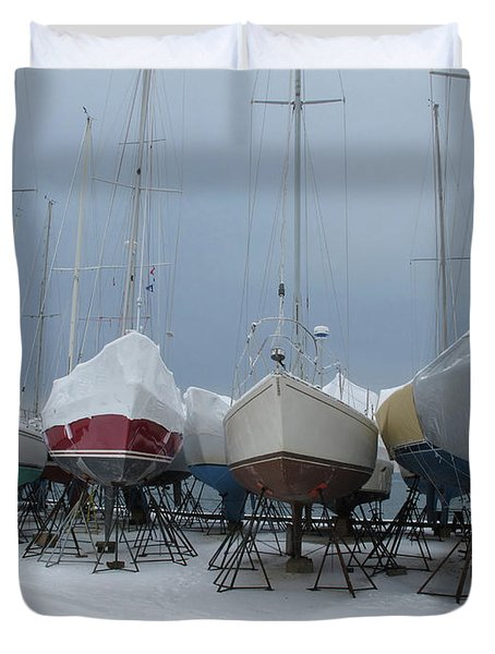Snow Covered Boats At Christmas Duvet Cover