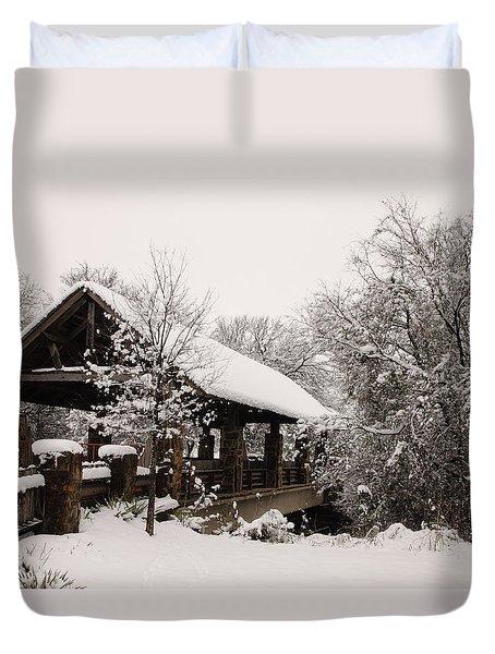Snow Covered Bridge Duvet Cover by Robert Frederick
