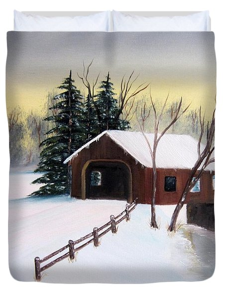 Snow Covered Bridge Duvet Cover by John Burch
