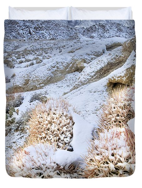 Duvet Cover featuring the photograph Snow Covered Cactus Below Mount Whitney Eastern Sierras by Dave Welling