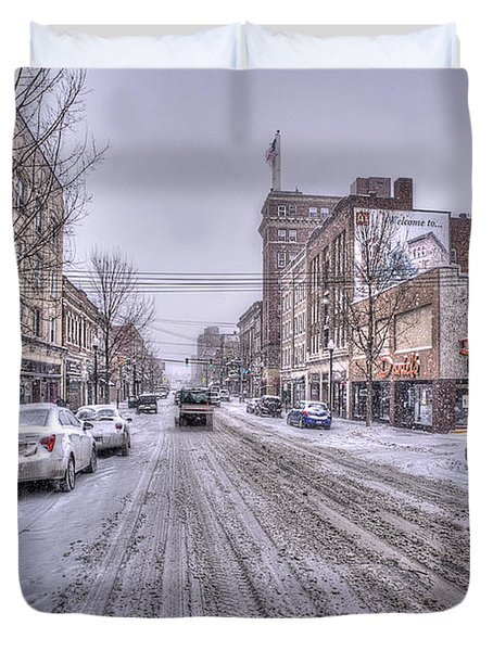 Snow Covered High Street And Cars In Morgantown Duvet Cover