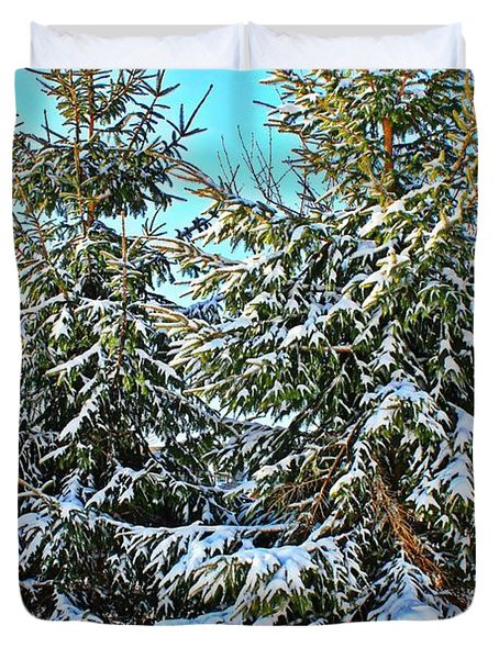 Duvet Cover featuring the photograph Snow Covered Pines by Judy Palkimas