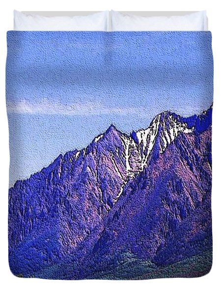 Snow Covered Purple Mountain Peaks Duvet Cover