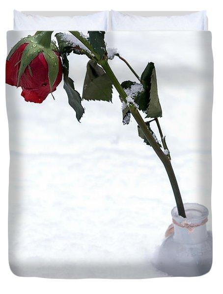 Snow-covered Rose Duvet Cover by Joana Kruse