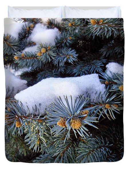 Snow Covered Spruce Duvet Cover by Mikki Cucuzzo