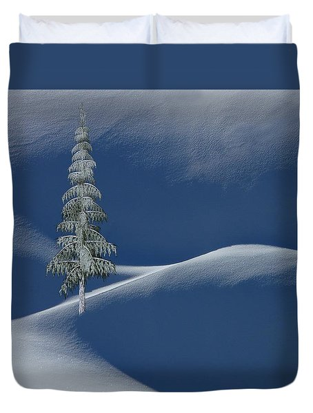 Snow Covered Tree And Mountains Color Duvet Cover