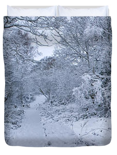 Snow Covered Trees In A Park, Hampstead Duvet Cover
