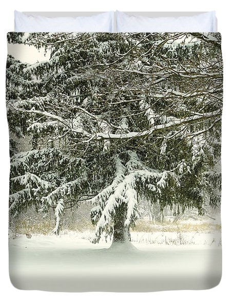 Duvet Cover featuring the photograph Snow-covered Trees by Lars Lentz