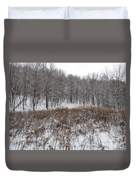 Snow Covered Woodland Duvet Cover