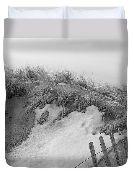 Duvet Cover featuring the photograph Snow Covered Sand Dunes by Eunice Miller