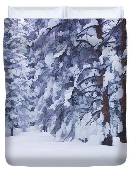 Snow-dappled Woods Duvet Cover