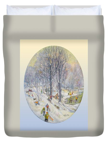 Duvet Cover featuring the painting Snow Day by Donna Tucker