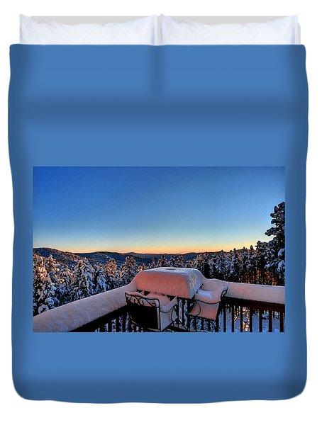 Snow Deck Sunrise - Water Color Duvet Cover
