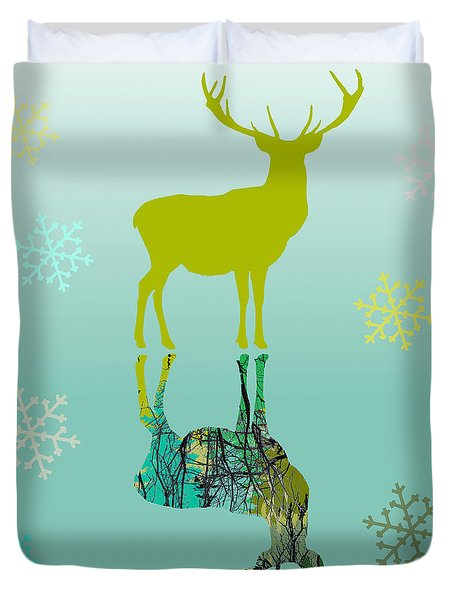 Duvet Cover featuring the photograph Snow Deer In Aqua by Suzanne Powers