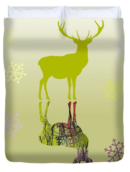 Duvet Cover featuring the digital art Snow Deer In Gold by Suzanne Powers