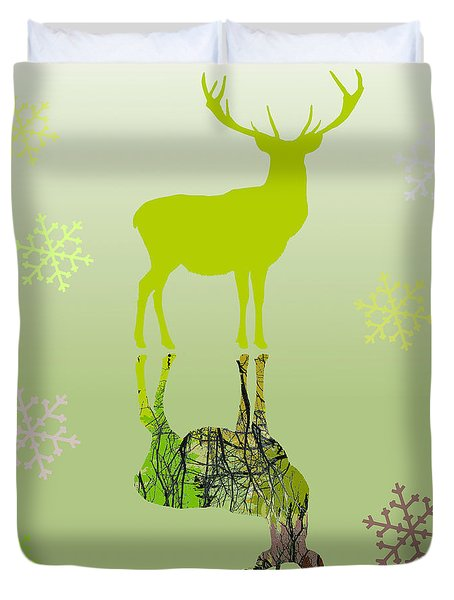 Duvet Cover featuring the photograph Snow Deer In Green by Suzanne Powers