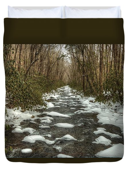 Snow Dots The Waters Of The Great Smoky Mountains National Park  Duvet Cover