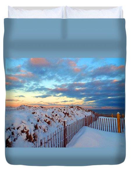 Snow Dunes At Sunrise Duvet Cover by Dianne Cowen