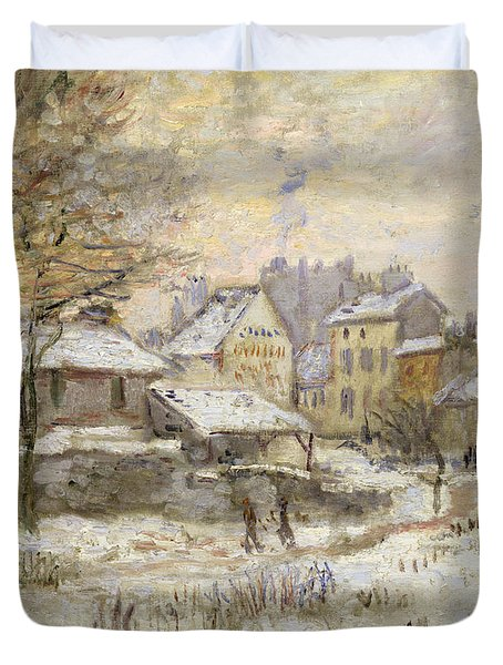 Snow Effect With Setting Sun Duvet Cover by Claude Monet