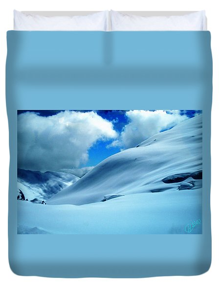 Duvet Cover featuring the photograph Snow Face In The  Mountain by Colette V Hera  Guggenheim