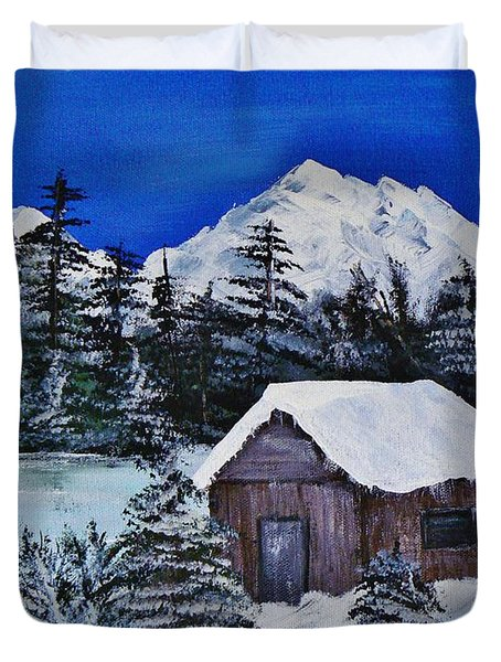 Snow Falling On Cedars Duvet Cover by Barbara St Jean