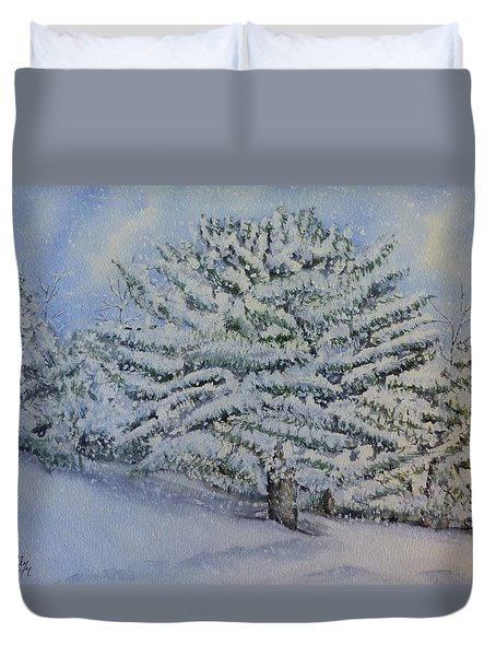 Duvet Cover featuring the painting Snow Filled Trees by Kelly Mills