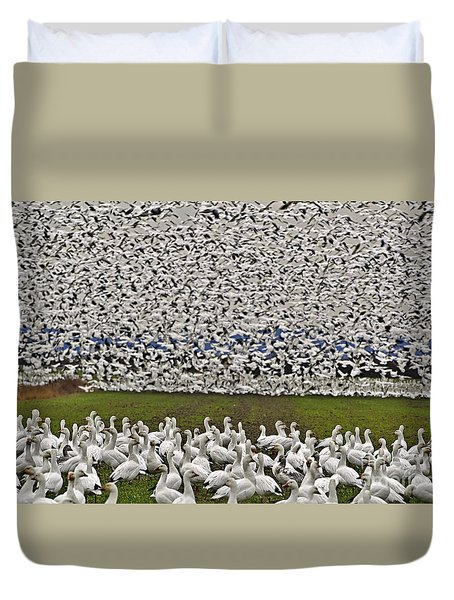 Snow Geese By The Thousands Duvet Cover by Valerie Garner