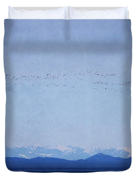 Duvet Cover featuring the photograph Snow Geese Over The Ocean by Peggy Collins