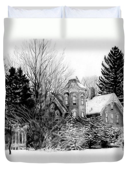 Da196 Snow House By Daniel Adams Duvet Cover