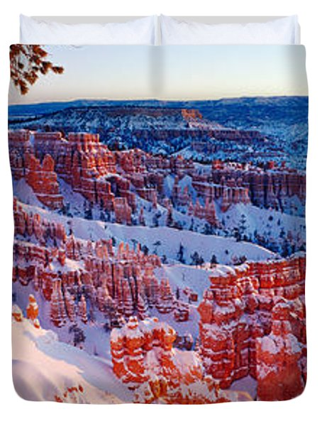 Snow In Bryce Canyon National Park Duvet Cover by Panoramic Images