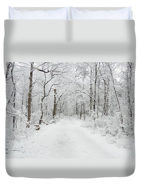 Snow In The Park Duvet Cover