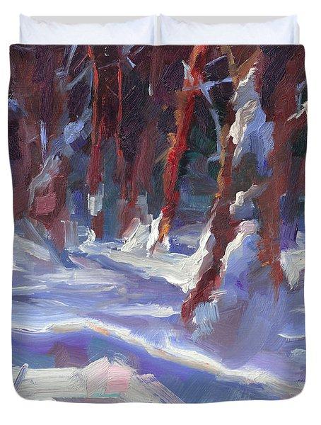 Snow Laden - Winter Snow Covered Trees Duvet Cover
