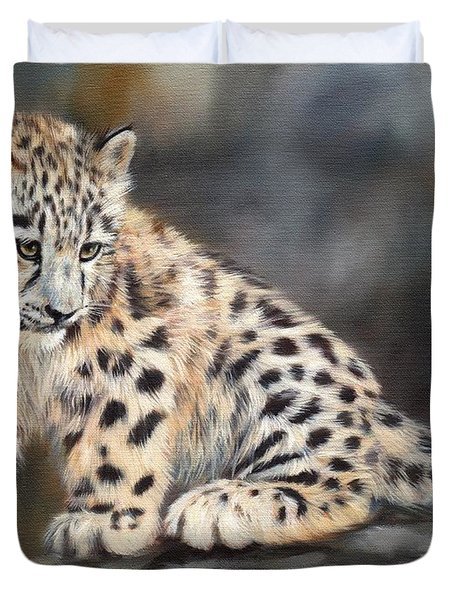 Snow Leopard Cub Duvet Cover by David Stribbling