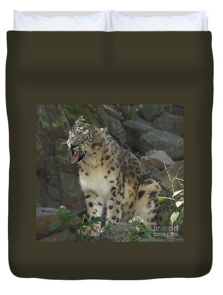 Snow Leopard Growling Duvet Cover by John Telfer